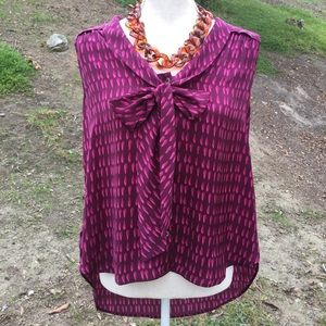 Halogen maroon and pink high low sleeveless